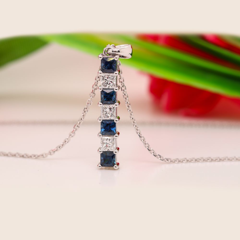 Vertical Bar Diamond Necklace With Sapphire In 14K White Gold
