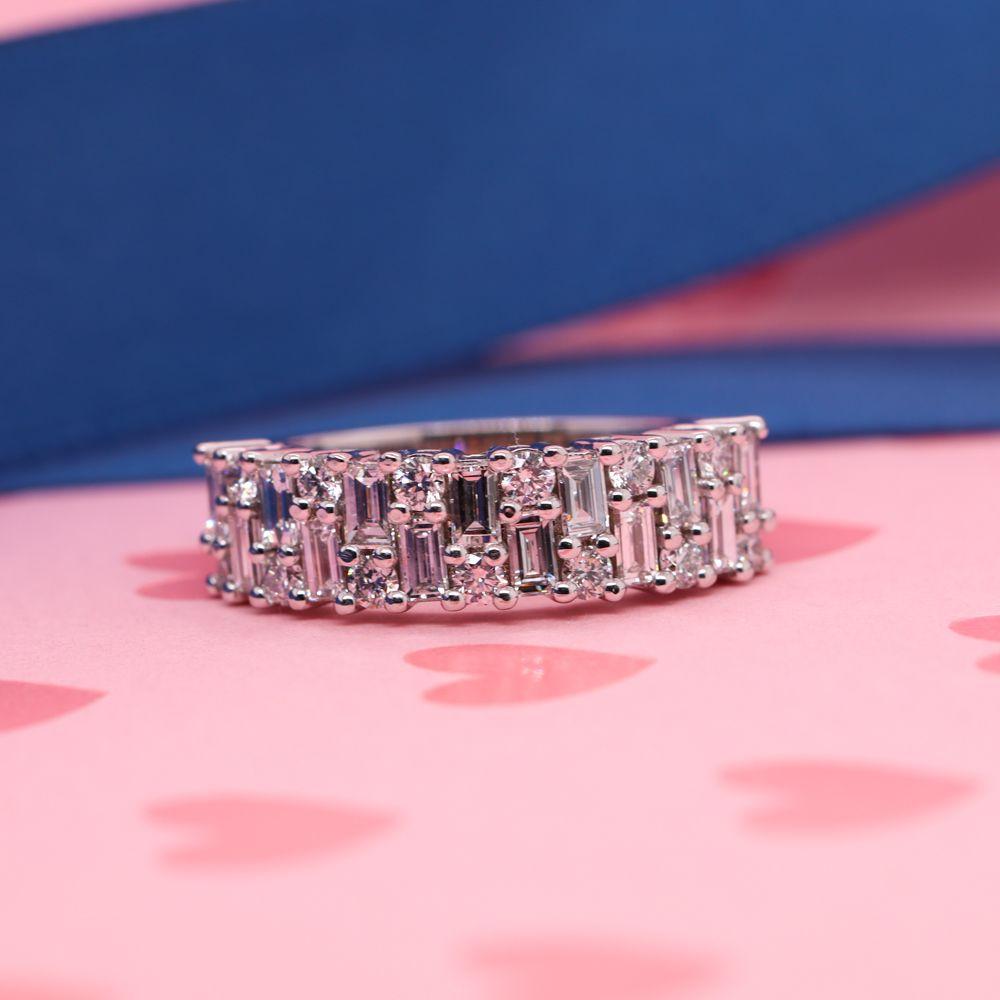 Vintage Baguette Diamond Wedding Band In 14K White Gold