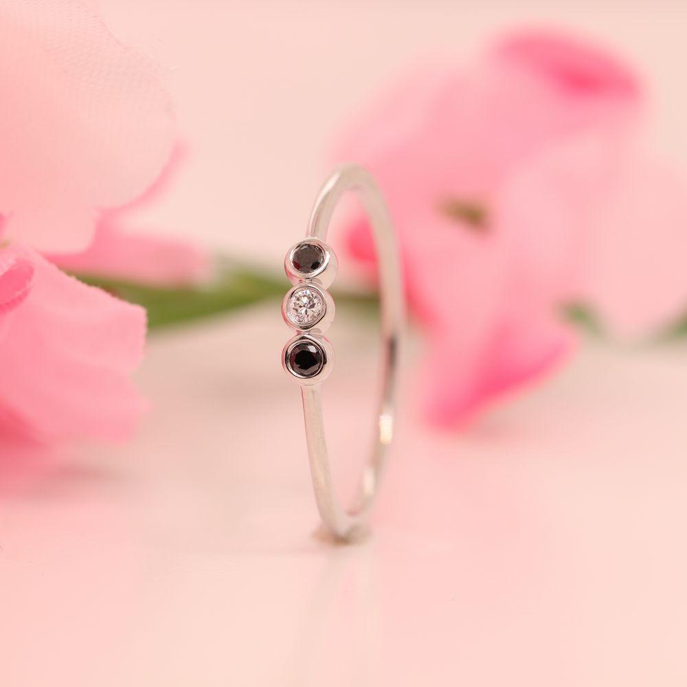 Black Diamond 3 Stone Bezel Delicate Ring In 950 Platinum