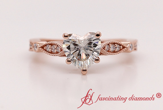 Art Deco Heart Moissanite Ring