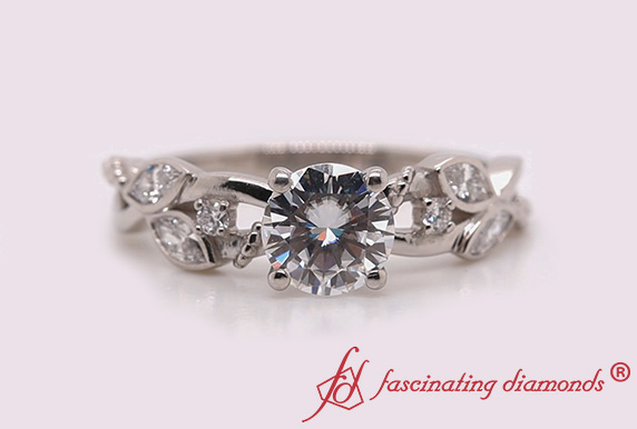 Delicate Floral Moissanite Ring