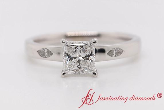 Flat 3 Stone Lab Diamond Ring