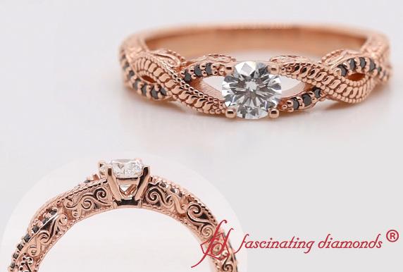 Engraved Vintage Lab Diamond Ring