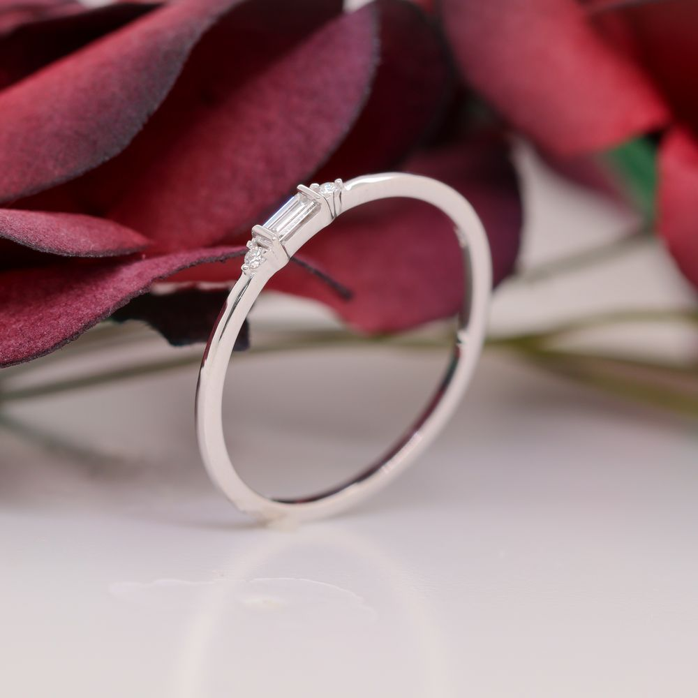 Thin Diamond Baguette Stackable Ring In 14K White Gold