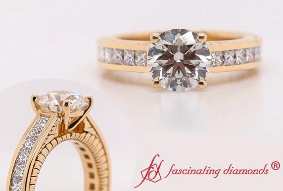 Channel Set Lab Made Diamond Ring