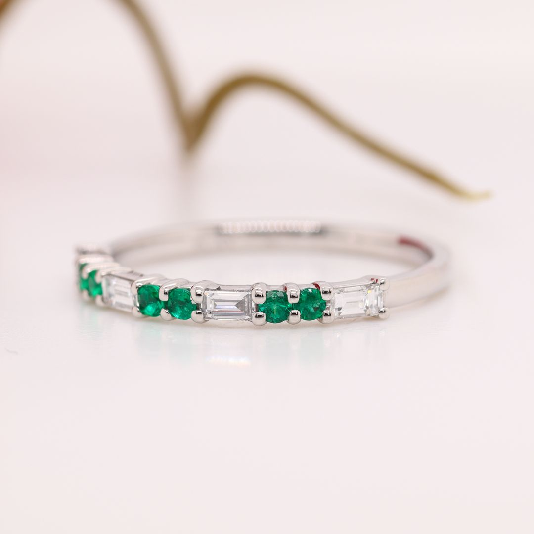 Delicate Baguette And Round Emerald Wedding Band In Platinum