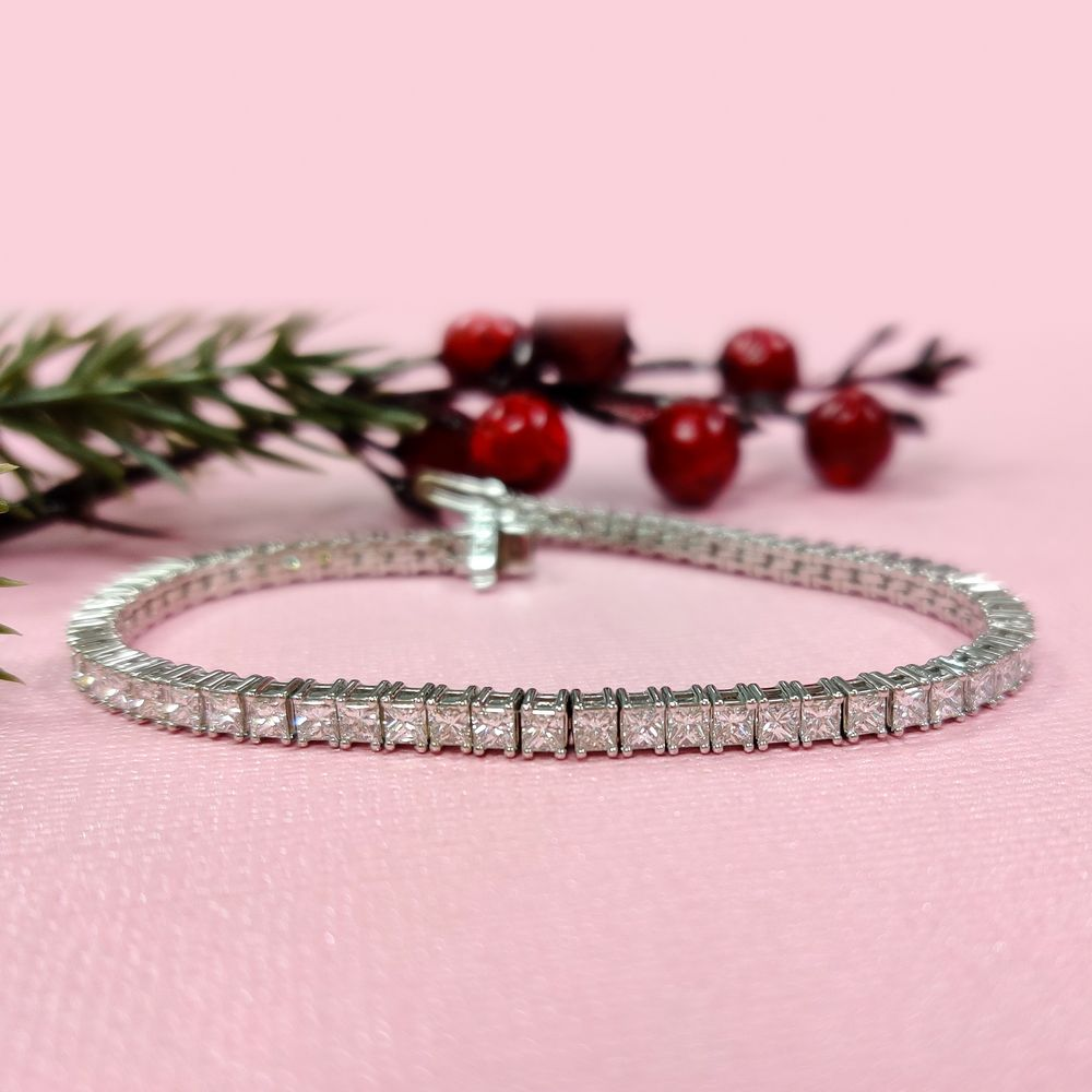 6 Carat Princess Cut Diamond Tennis Eternity Bracelet In 18K White Gold
