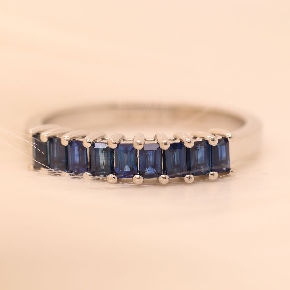9 Stone Sapphire Baguette Wedding Band In 14K White Gold