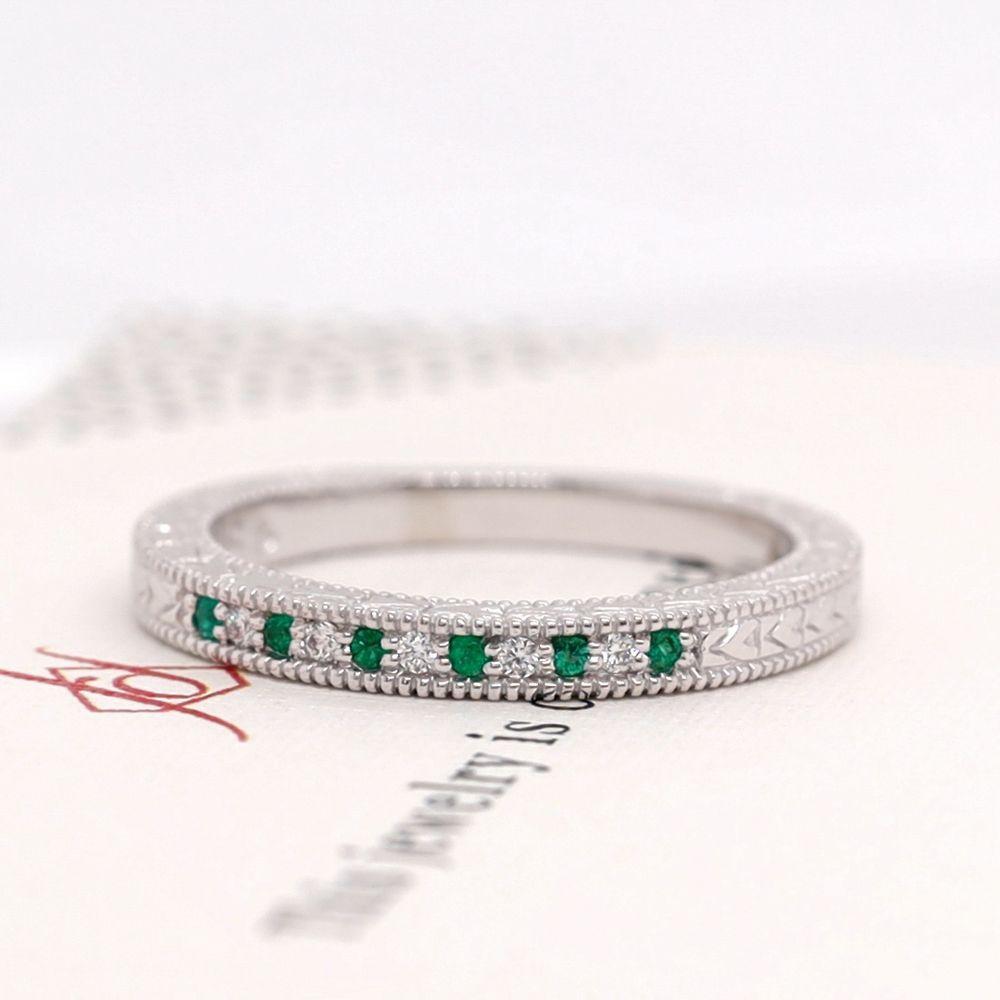 Art Deco Pave Diamond Wedding Band With Emerald In 950 Platinum