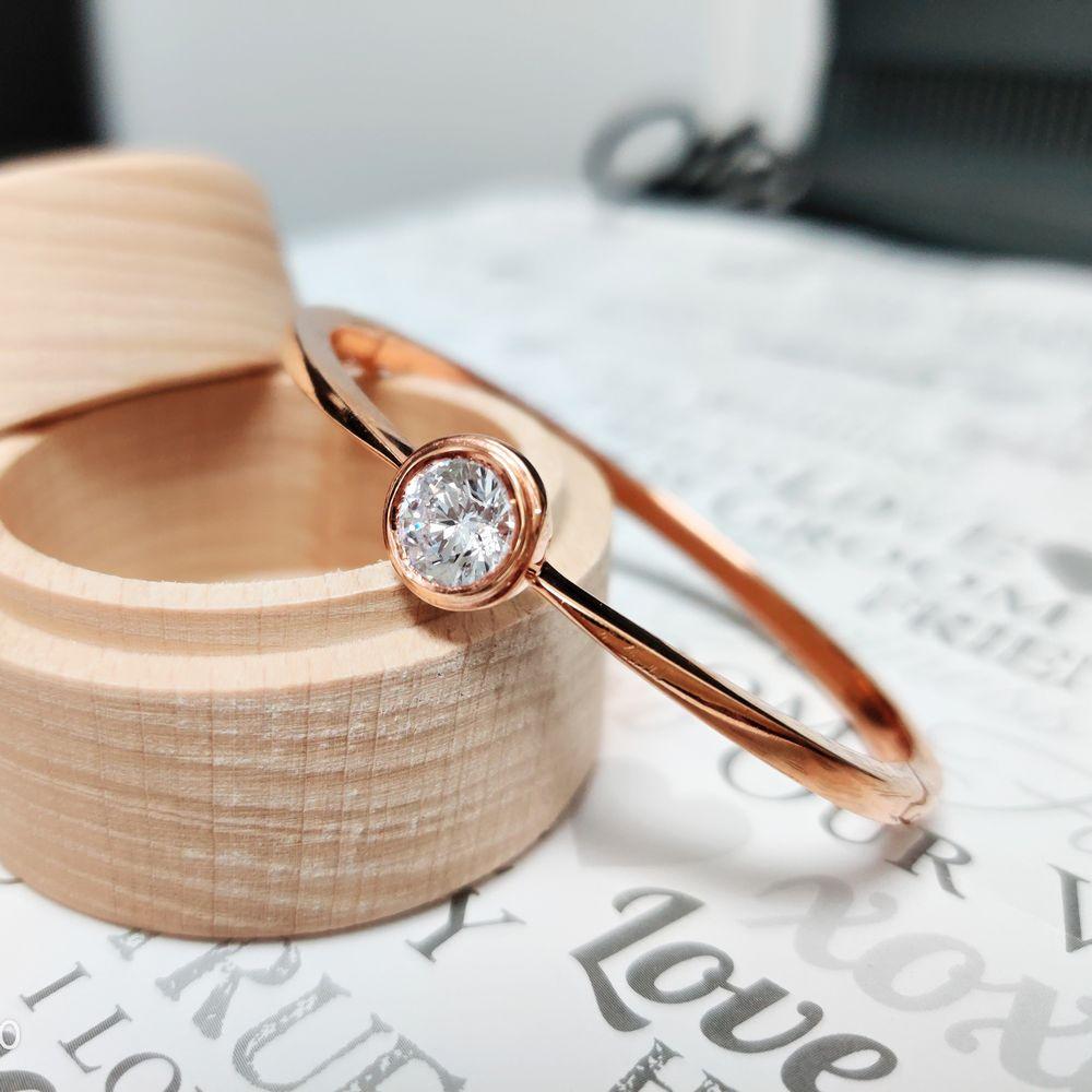 Bezel Set Solitaire Diamond Bracelet In 14K Rose Gold