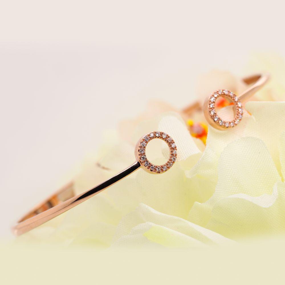 Crossover Open Circle Diamond Bracelet In 14K Rose Gold