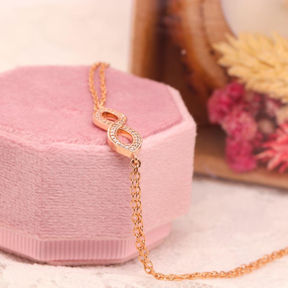 Infinity Diamond Bracelet Gifts In 14K Rose Gold