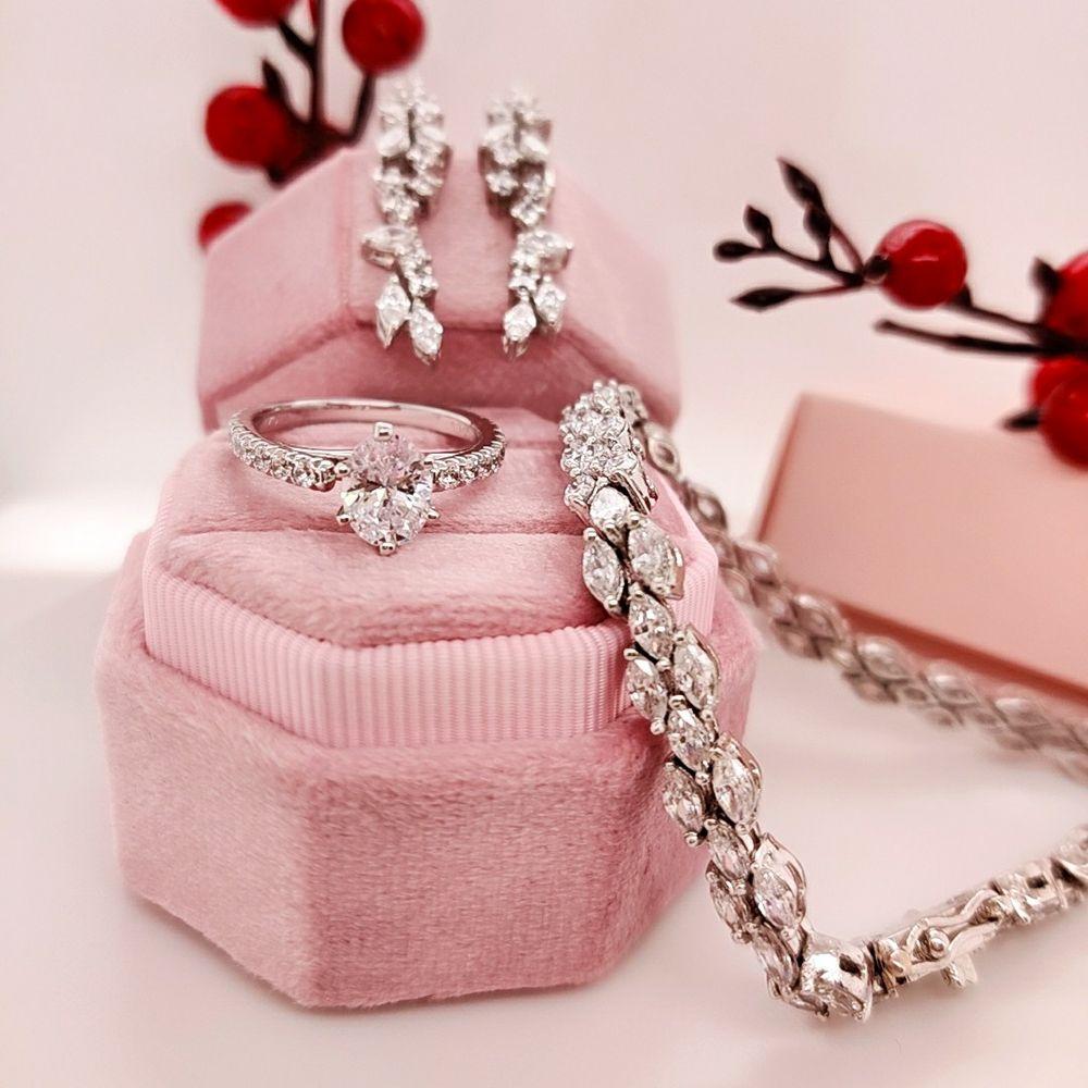 Marquise Diamond Tennis Bracelet In 14K White Gold