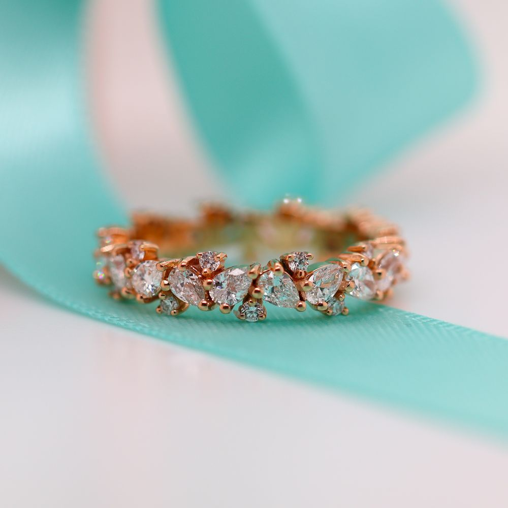 1.50 Ct. Pear Eternity Diamond Band In 18K Rose Gold