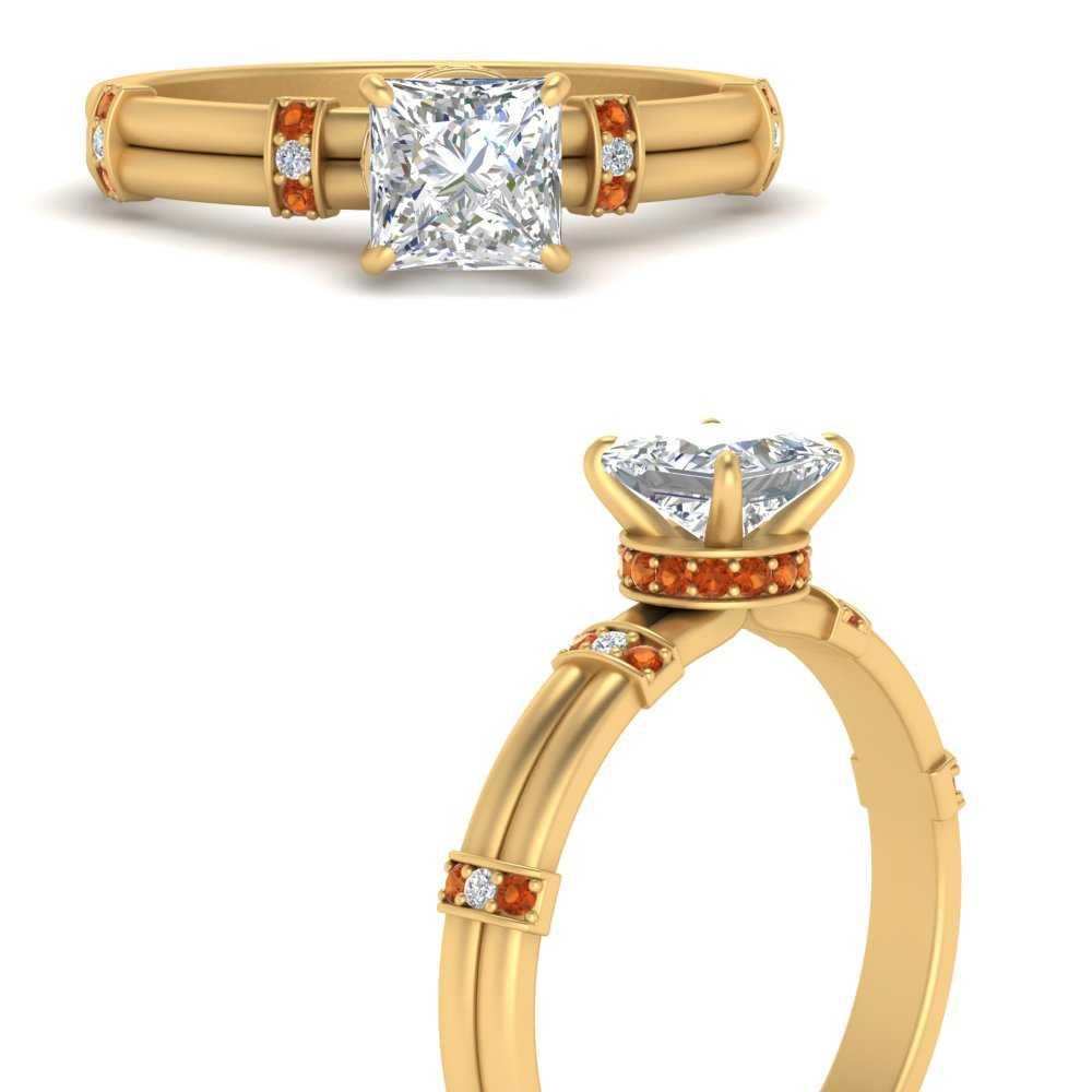 double-row-princess-cut-diamond-engagement-ring-with-orange-sapphire-in-FDENS1157PRRGSAORANGLE3-NL-YG