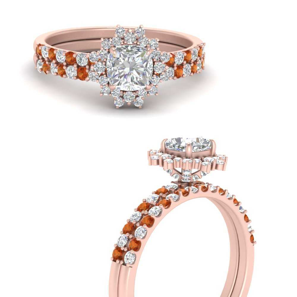 floral-art-deco-cushion-cut-diamond-bridal-ring-set-with-orange-sapphire-in-FDENS3149CUGSAORANGLE3-NL-RG