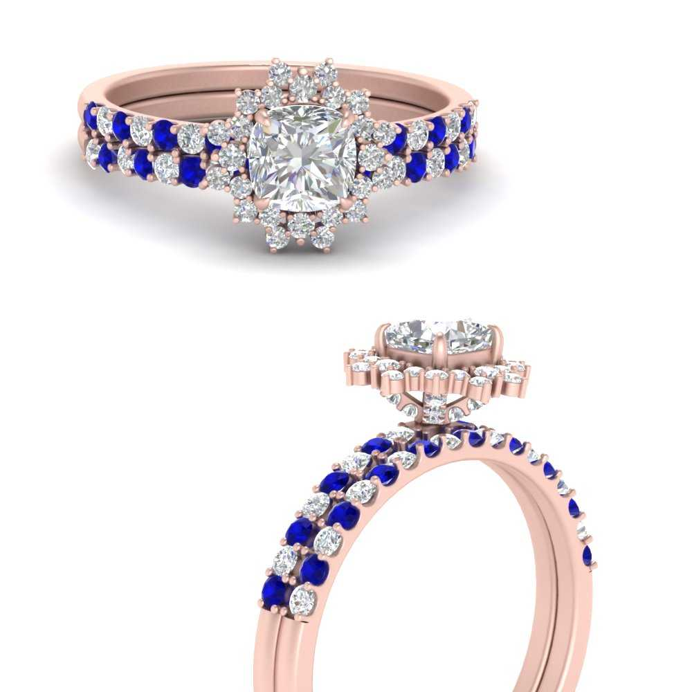 floral-art-deco-cushion-cut-diamond-bridal-ring-set-with-sapphire-in-FDENS3149CUGSABLANGLE3-NL-RG