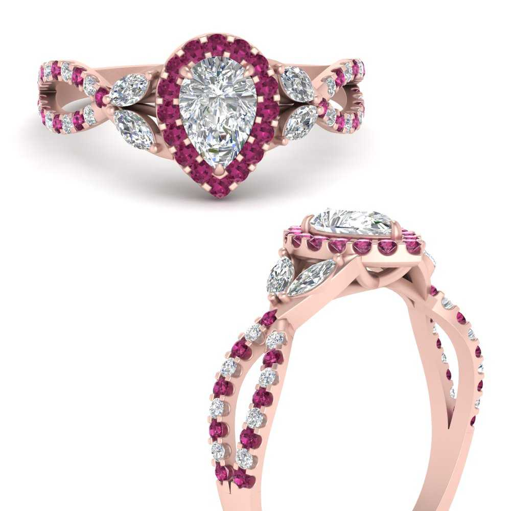 floral-halo-twisted-pear-shaped-diamond-engagement-ring-with-pink-sapphire-in-FDENS3303PERGSADRPIANGLE3-NL-RG