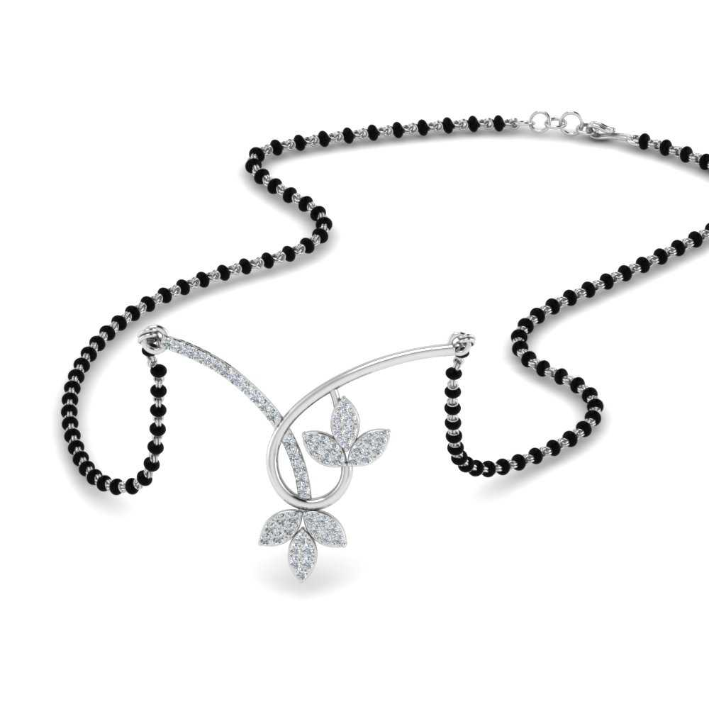 18K White Gold Floral Delicate Mangalsutra