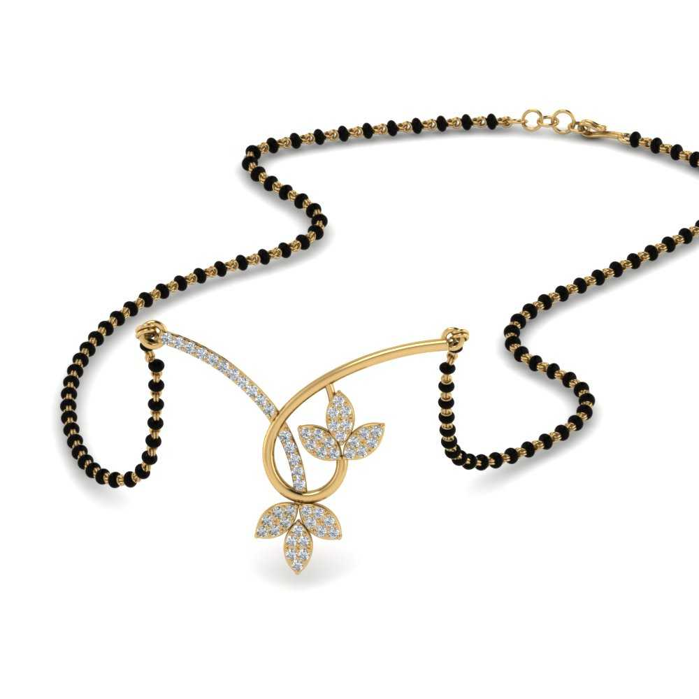 Flower 14K Yellow Gold Delicate Mangalsutra