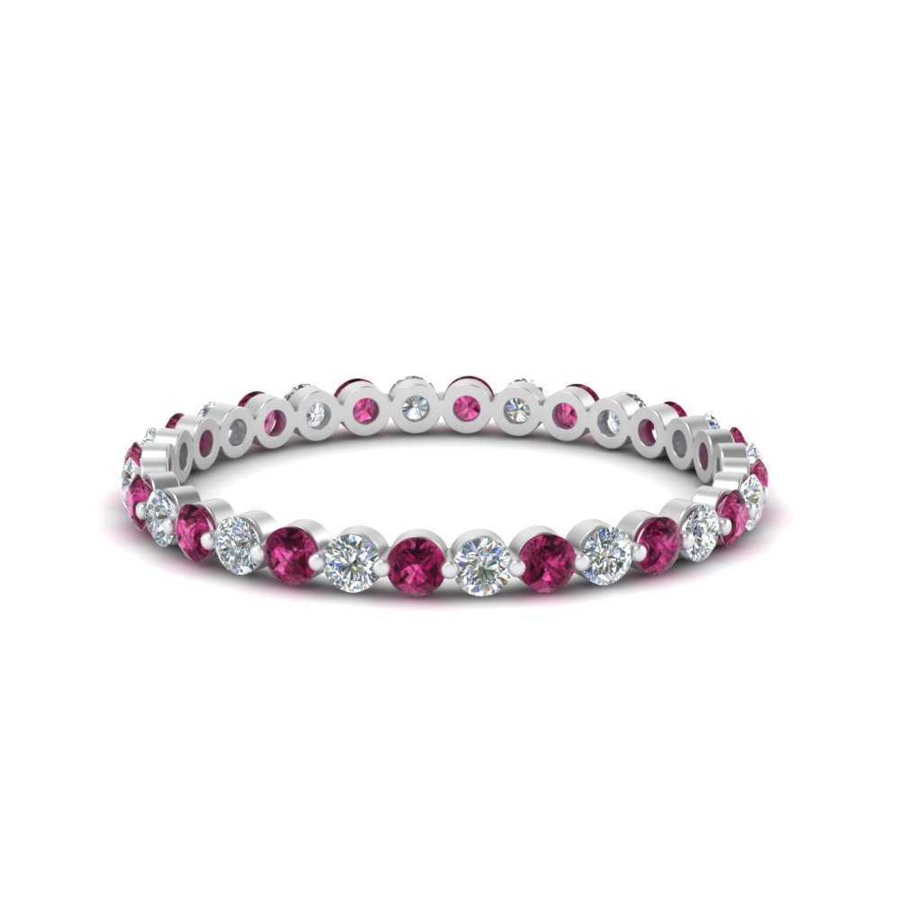 half-carat-common-prong-diamond-wedding-band-with-pink-sapphire-in-FDEWB9477(0.50ct)GSADRPI-NL-WG