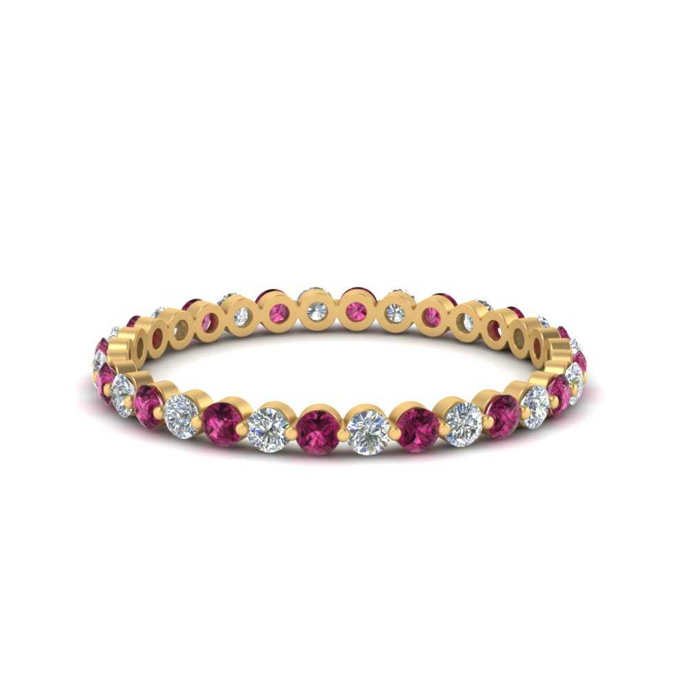 half-carat-common-prong-diamond-wedding-band-with-pink-sapphire-in-FDEWB9477(0.50ct)GSADRPI-NL-YG