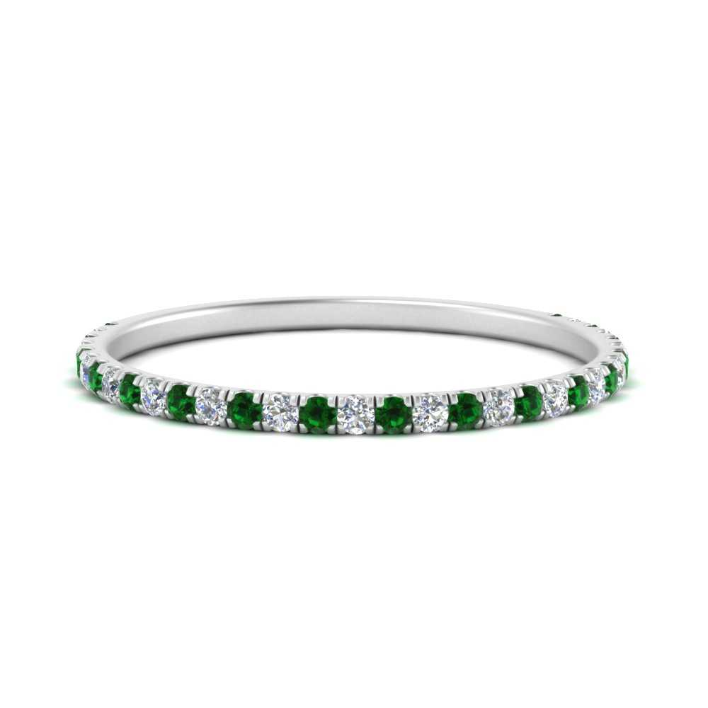 half-eternity-stackable-diamond-wedding-ring-with-emerald-in-FD67818BGEMGR-NL-WG
