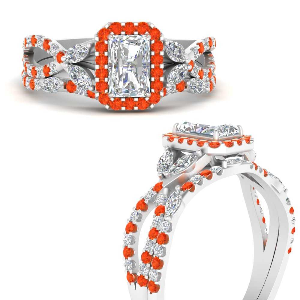 halo-vine-split-radiant-cut-diamond-wedding-ring-set-with-orange-topaz-in-FDENR2951RAGPOTOANGLE3-NL-WG