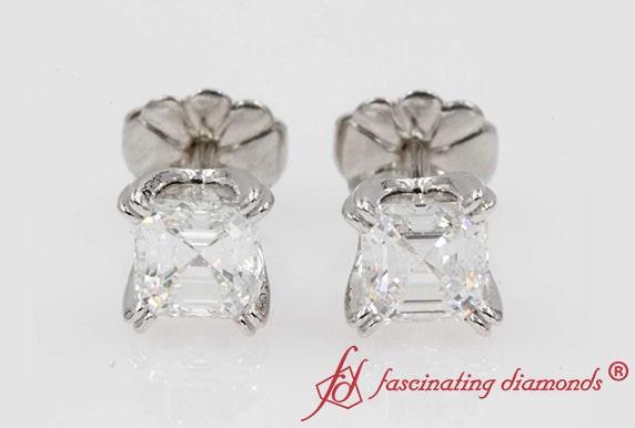 1 Carat Asscher Diamond Platinum Stud Earring
