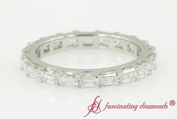 3 Carat Horizontal Emerald Cut Eternity Band