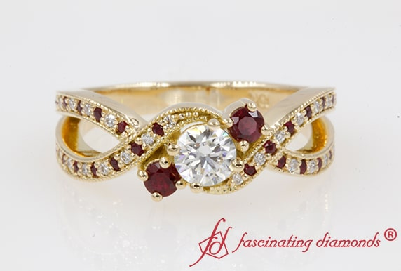 3 Stone Twisted Diamond And Ruby Ring
