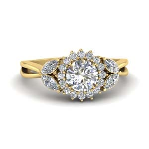 Flower Split Shank Diamond Ring