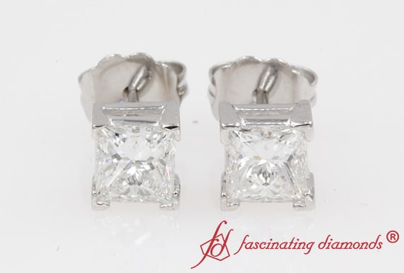 1 Carat Princess Cut Stud Diamond Earring