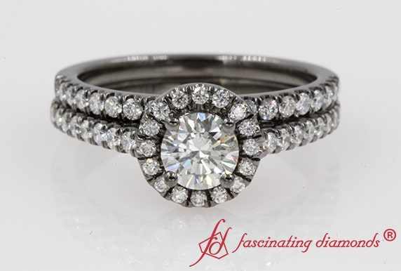 Filigree Halo Wedding Ring Set