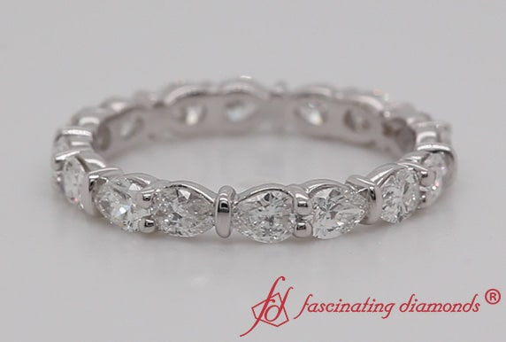 Horizontal Pear Stackable Wedding Eternity Band