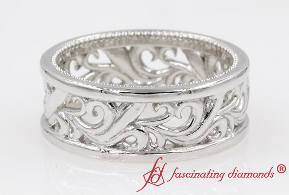 Mens Filigree Wide Wedding Band