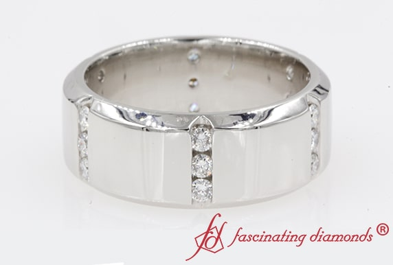 Mens Station Diamond Wedding Band