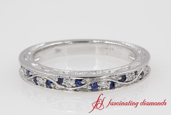Sapphire White Gold Vintage Band