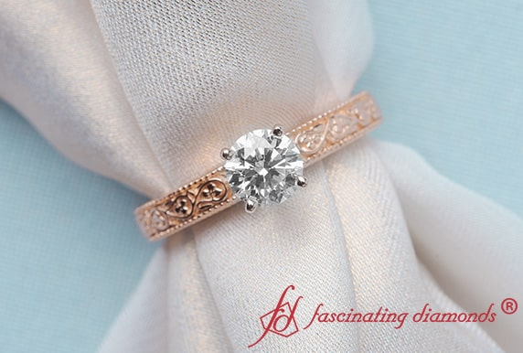 Rose Gold Filigree Engagement Ring