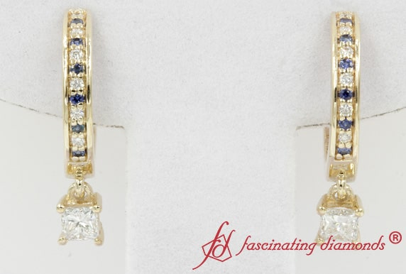 Yellow Gold Diamond Hoop Drop Earring