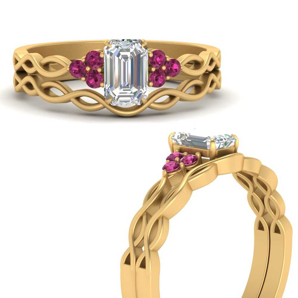 infinity-accented-emerald-cut-pink-sapphire-wedding-rings-in-FD67847EMGSADRPIANGLE3-NL-YG