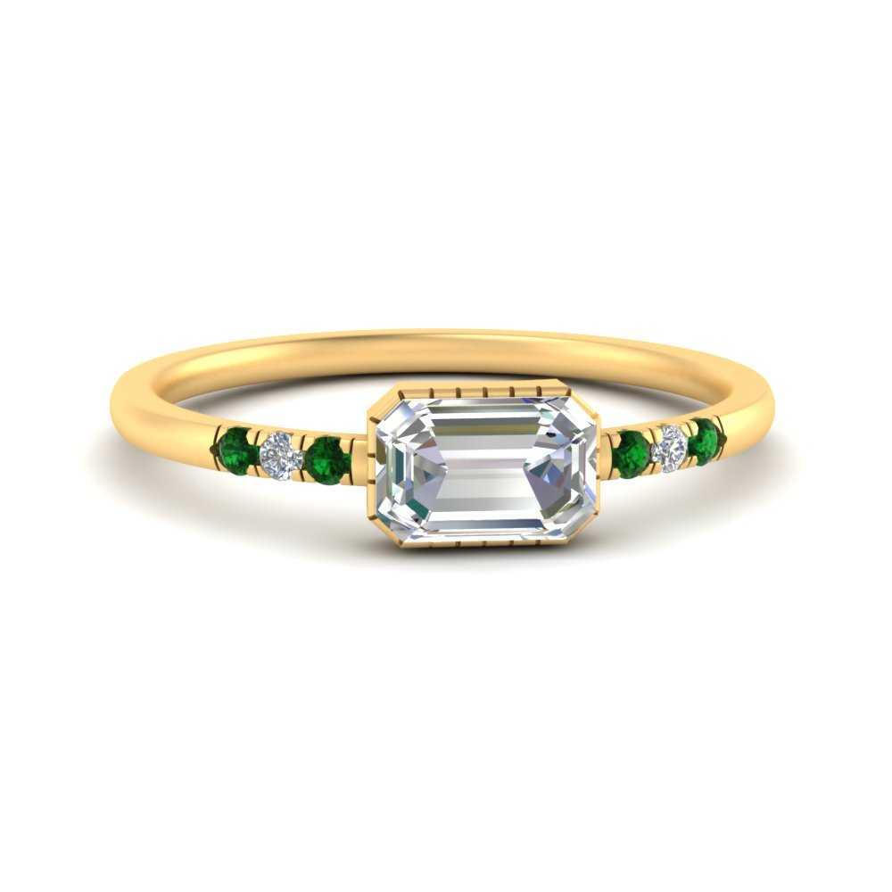 Minimalist Art Deco Engagement Diamond Ring With Emerald In 14k Yellow Gold Fascinating Diamonds