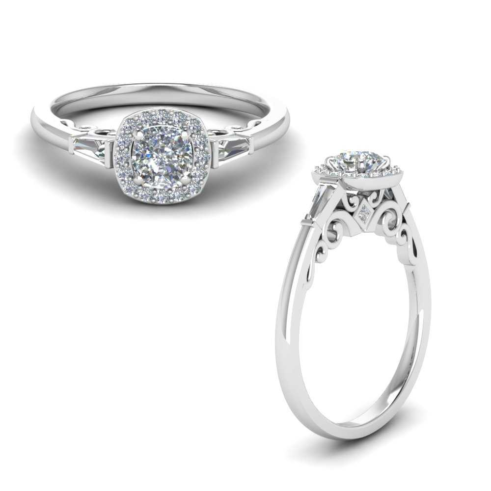 Old Fashioned Cushion Diamond Antique Engagement Ring In 14k White Gold Fascinating Diamonds