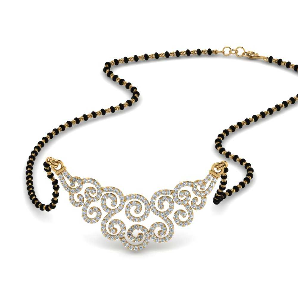 14K Yellow Gold Pave Curves Necklace Mangalsutra
