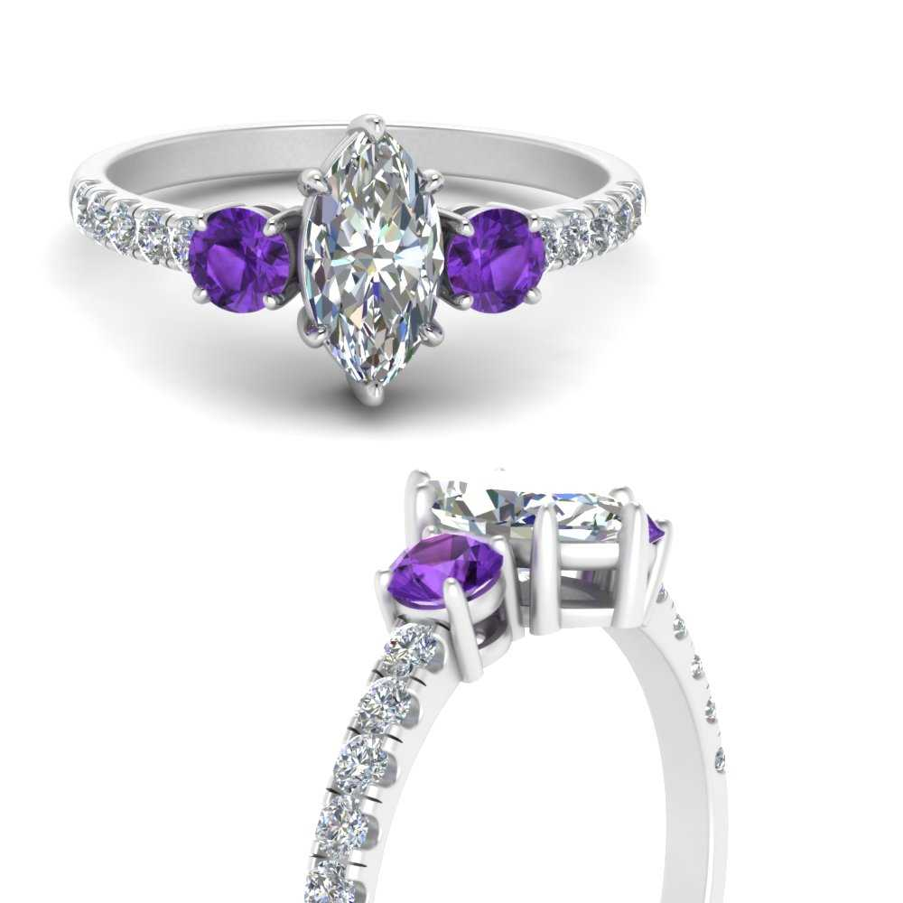 petite-micropave-marquise-cut-three-stone-diamond-engagement-ring-with-purple-topaz-in-FD9383MQRGVITOANGLE3-NL-WG