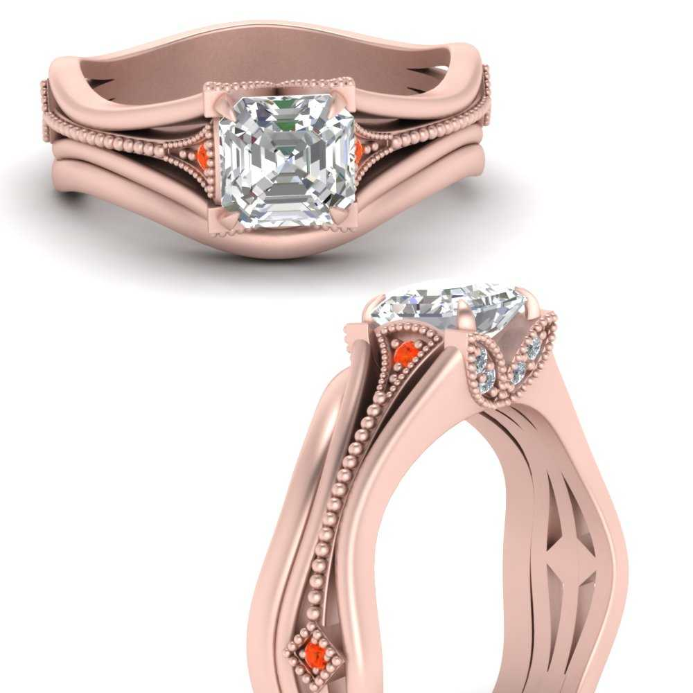 vintage-floral-asscher-cut-beautiful-diamond-wedding-ring-set-with-orange-topaz-in-FD9475ASGPOTOANGLE3-NL-RG
