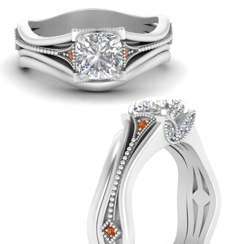 vintage-floral-cushion-cut-beautiful-diamond-wedding-ring-set-with-orange-sapphire-in-FD9475CUGSAORANGLE3-NL-WG