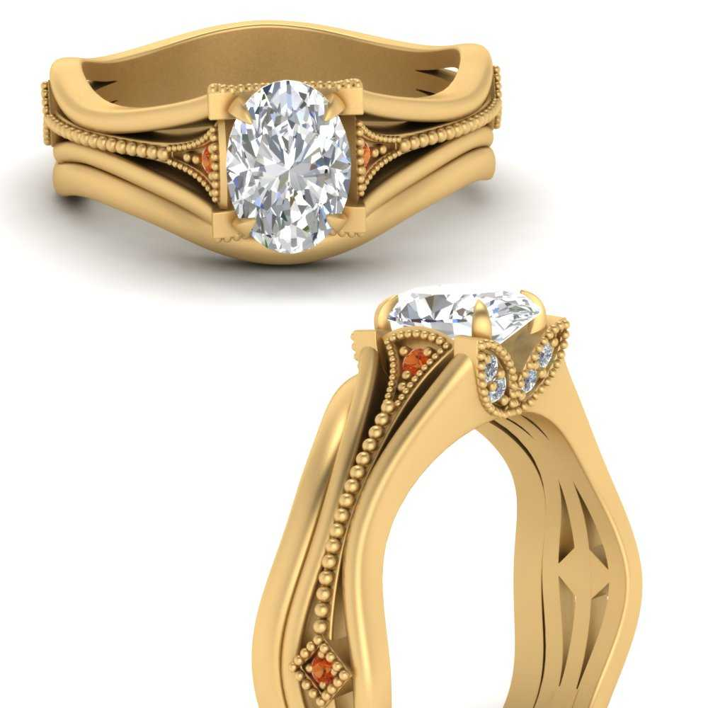 vintage-floral-oval-shaped-beautiful-diamond-wedding-ring-set-with-orange-sapphire-in-FD9475OVGSAORANGLE3-NL-YG
