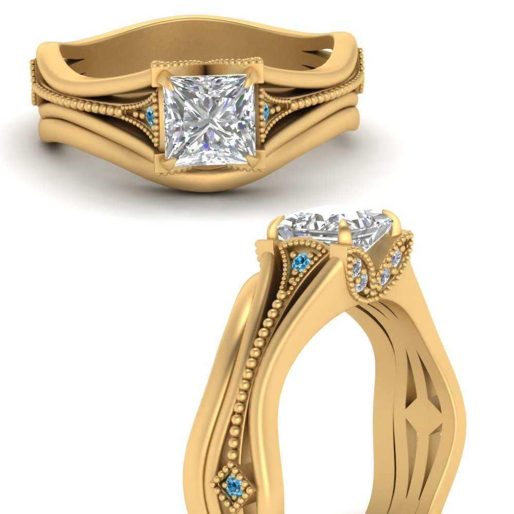 vintage-floral-princess-cut-beautiful-diamond-wedding-ring-set-with-blue-topaz-in-FD9475PRGICBLTOANGLE3-NL-YG